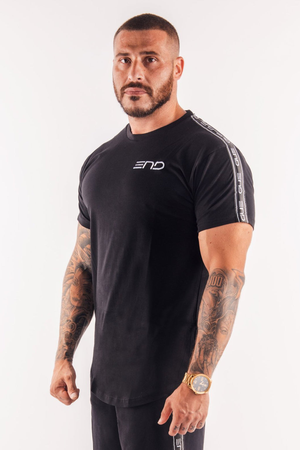 URBAN TAPE SHOULDER TEE - BLACK