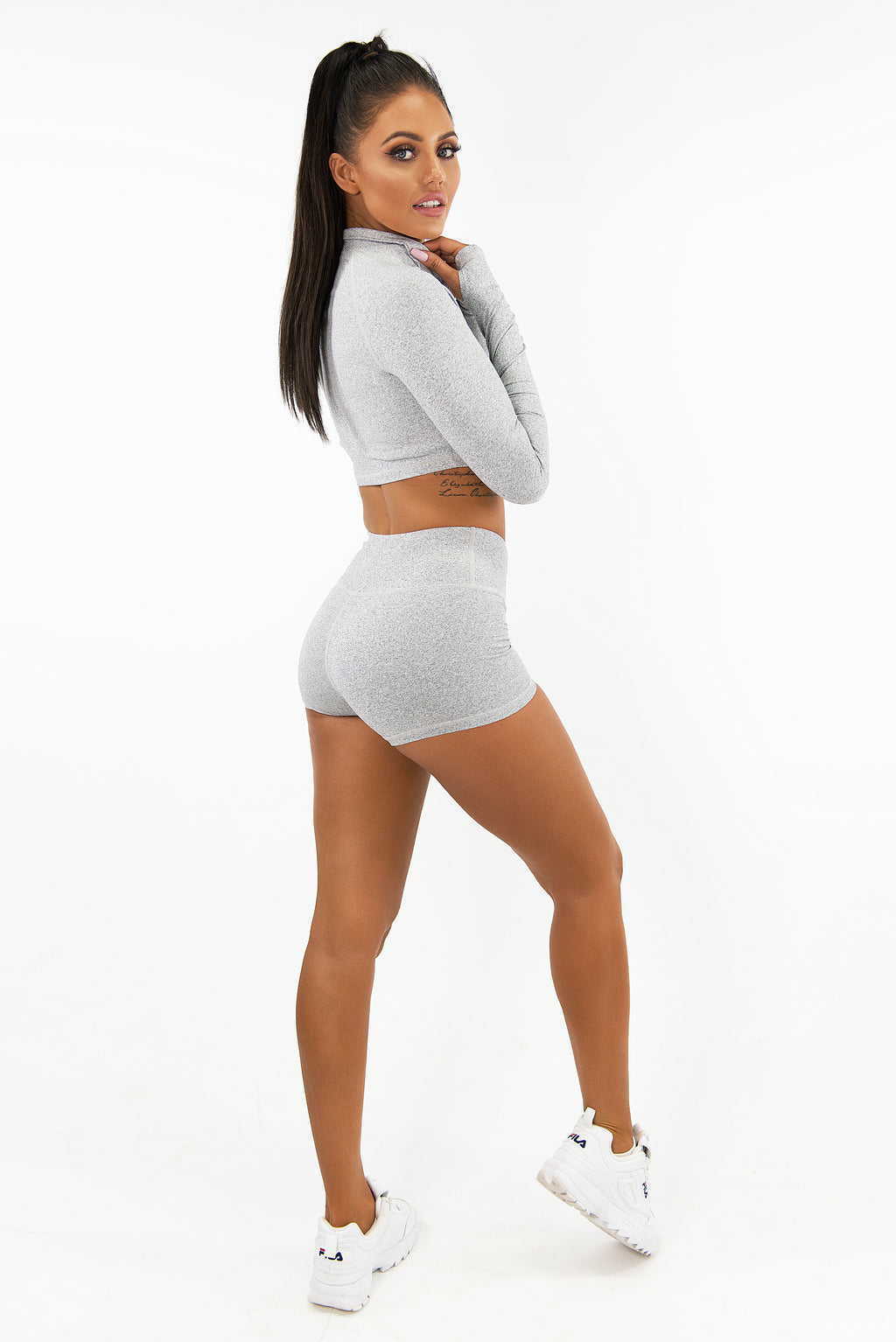 VARSITY LONG SLEEVE CROP - LIGHT GREY