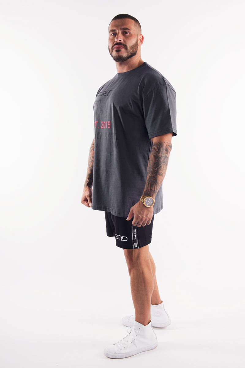 THE BODY BUILDER OVERSIZED TEE - CHARCOAL