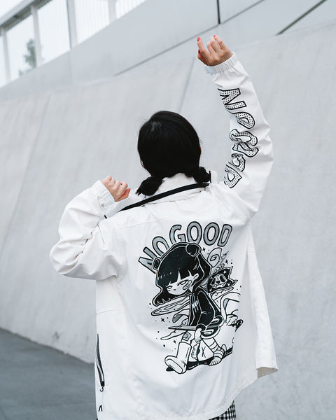 """No Good"" Windbreaker (White)"