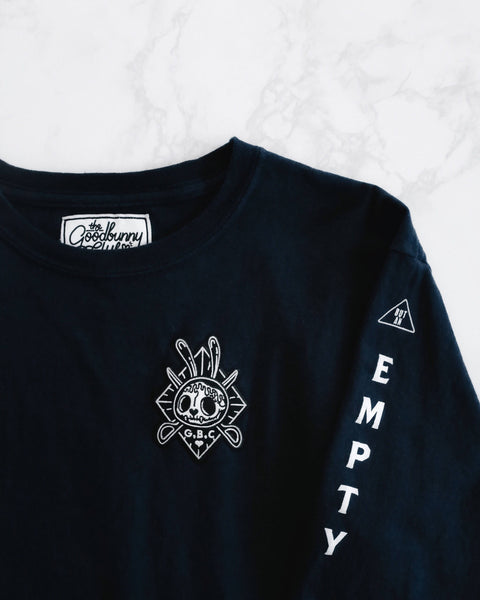 """Empty Shell"" Embroidered Patch Long Sleeves Tee in Navy"