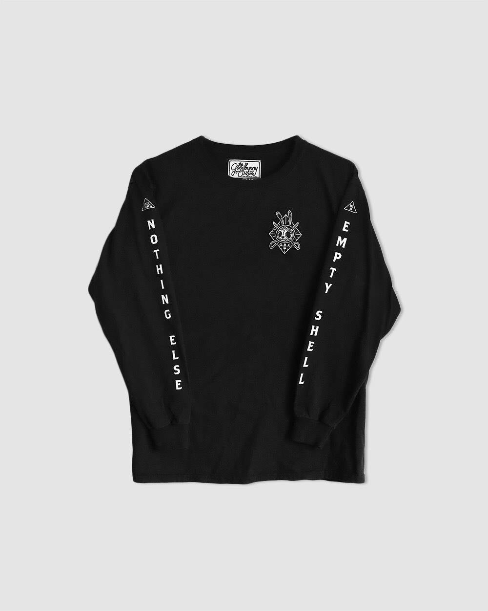 """Empty Shell"" Embroidered Patch Long Sleeves Tee in Black"