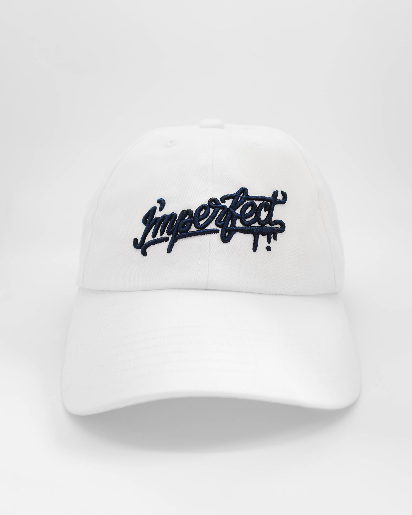 I'mperfect Embroidered Dad Hat in White/Navy