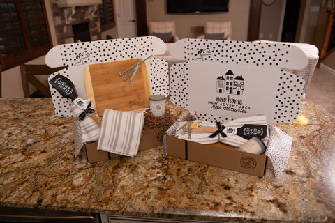 Unique House Warming Wedding New Home Gift Basket with Home Sign, Kitchen Utensils, Candle and More!