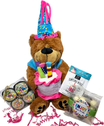 Adorable Large Happy Birthday Teddy Bear with Treats-Cookies, Gum and Chocolate