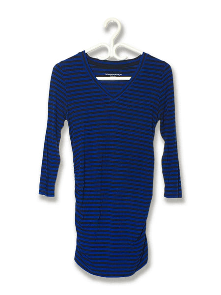 Blue/Black Striped V-Neck