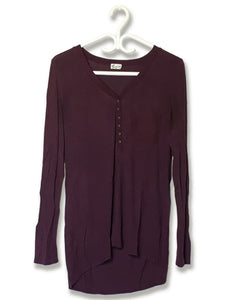 Eggplant Partial Button-Down