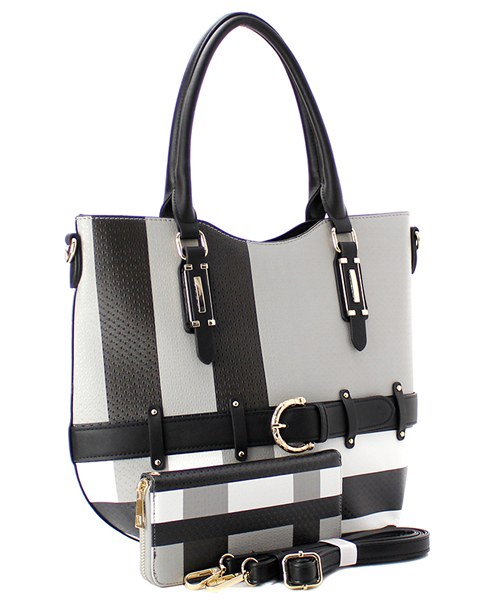 Black Plaid 2-in-1 Handbag