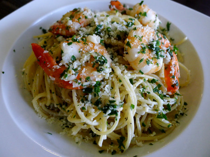 Aglio Olio Spaghettini with Prawns