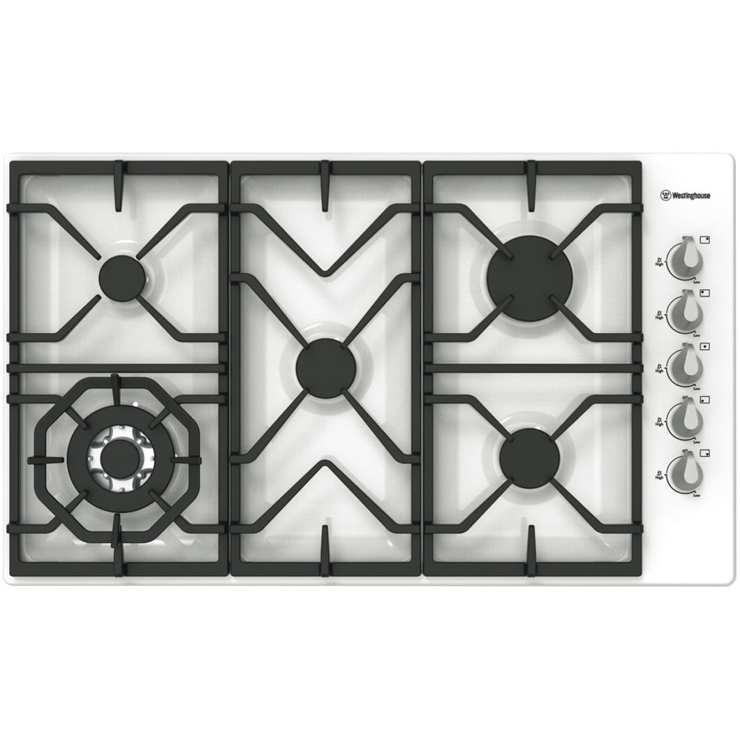 Westinghouse WHG955WA 86cm White Gas Cooktop - Bargain Home Appliances