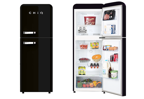 CHiQ CRTM213B 216L Retro Style Top Mount Black Fridge
