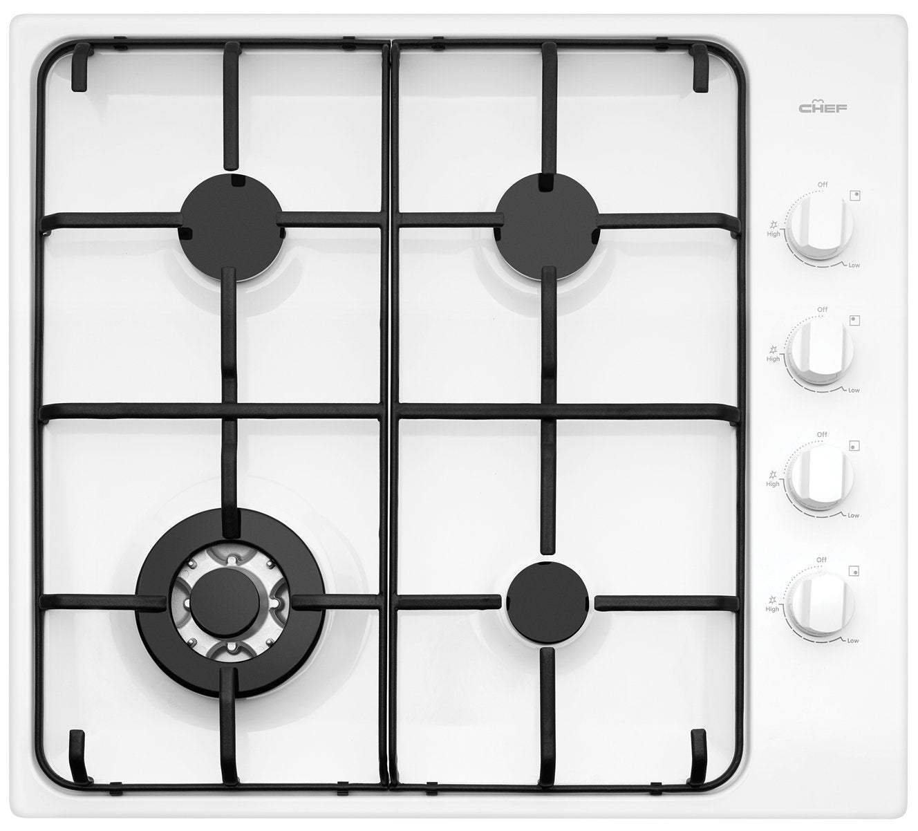 Chef CHG646WB 60cm 4 Burner White Gas Cooktop