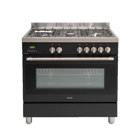 Euro EFS900DBL 90cm Black Dual Fuel Freestanding Oven