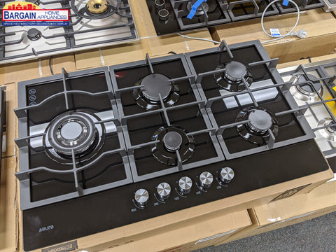Euro ECT900GBK 86cm Gas on Glass Cooktop