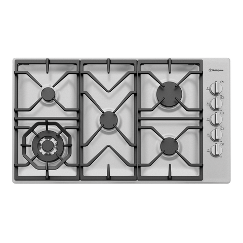 Westinghouse WHG955SB 90cm 5 Burner Stainless Steel Gas Cooktop
