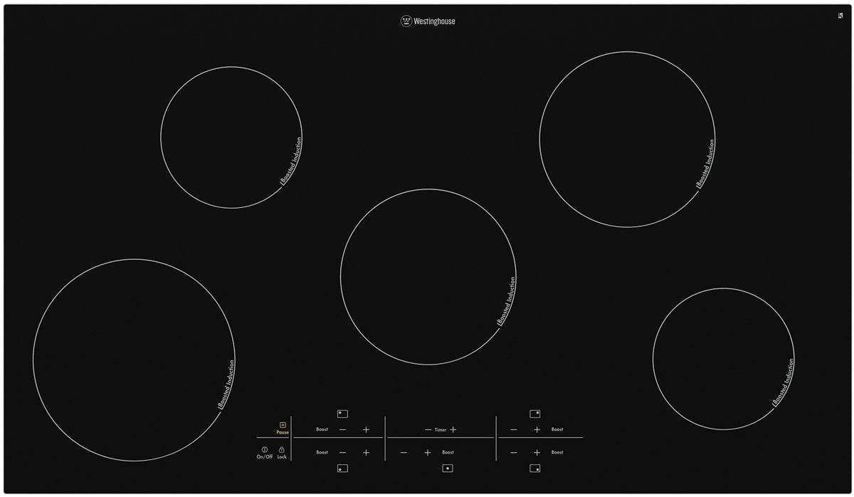 Westinghouse WHI954BA 90cm 5 Zone Black Ceramic Induction Cooktop - Bargain Home Appliances