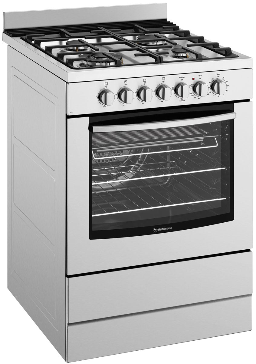 Westinghouse WFE616SA 60cm Freestanding Electric Oven with Gas Hob - Bargain Home Appliances