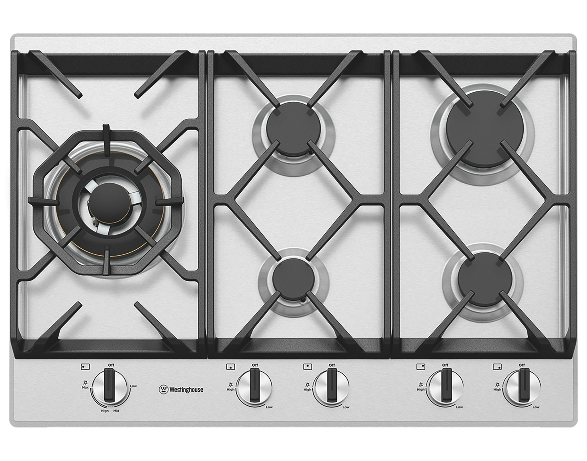 Westinghouse WHG758SC 75cm 5 burner  gas cooktop, stainless steel