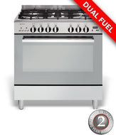 Emilia DI865EI4 80Cm Stainless Steel Dual Fuel Freestanding With Electric Oven - Bargain Home Appliances
