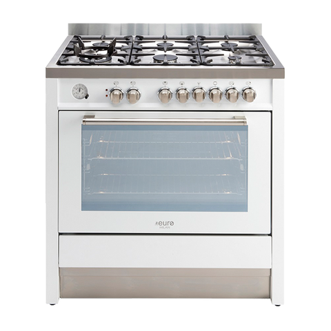 Euro Emd900Fwh – 90Cm Freestanding Dual Fuel Oven – Stunning White