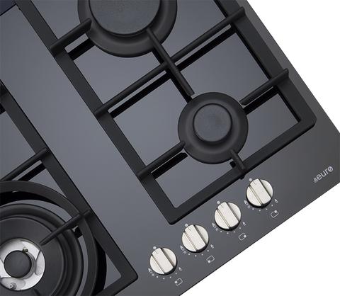 Euro ES60GDFBL 60Cm Gas On Ceramic Cooktop