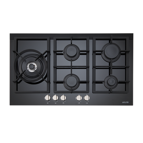 Euro ES90WGFDBL 90cm Gas on Ceramic Cooktop