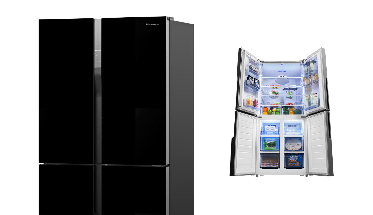 Hisense HR6CDFF512GB 512L Black Glass French Door Fridge