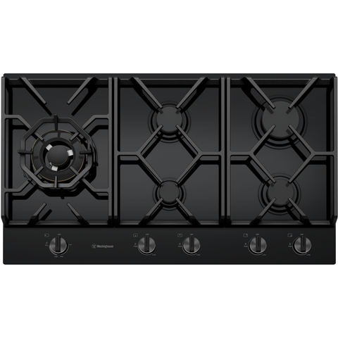Westinghouse WHG958BC 90cm 5 burner black tempered glass gas cooktop