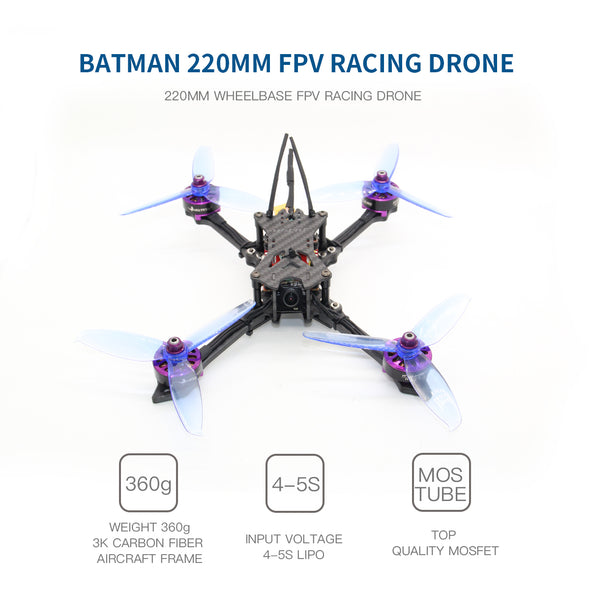 HGLRC Batman 220 220mm FPV Racing Drone PNP/BNF Version US Stock Fast Shipping