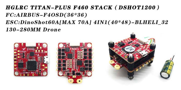 30.5x30.5 HGLRC Titan Plus F460 FC&60A Blheli_32 3-6S ESC for RC Drone