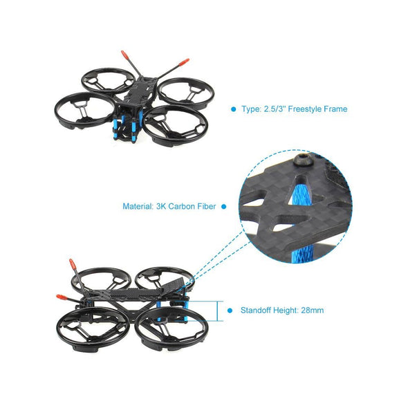 HGLRC Sector132 Freestyle Frame Kit with 2.5 inch propeller guard Sky Blue / Black - HGLRC Company