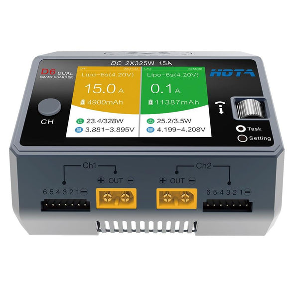 HOTA D6 Dual Channel 325W 15A DC Battery Charger w/ Wireless Cellphone Charging - HGLRC Company