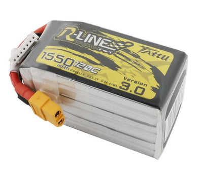 Tattu R-Line Version 3.0 1550mAh 22.2V 120C 6S1P Lipo Battery Pack with XT60 Plug - HGLRC Company