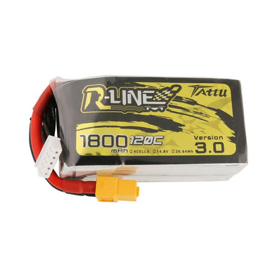 Tattu R-Line Version 3.0 1800mAh 14.8V 120C 4S1P Lipo Battery Pack with XT60 Plug - HGLRC Company