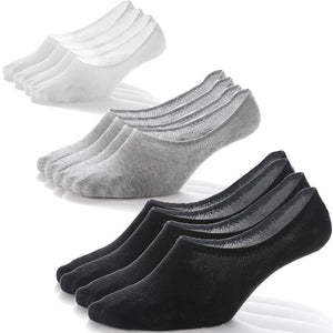 6 Pack Antibacterial Anti-odor No show socks (Black/White/Gray)