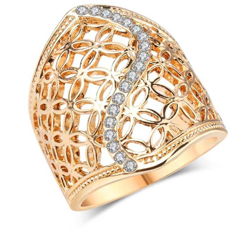Big Ring For Women Gold Color Fine Jewelry Vintage Mew Jewels