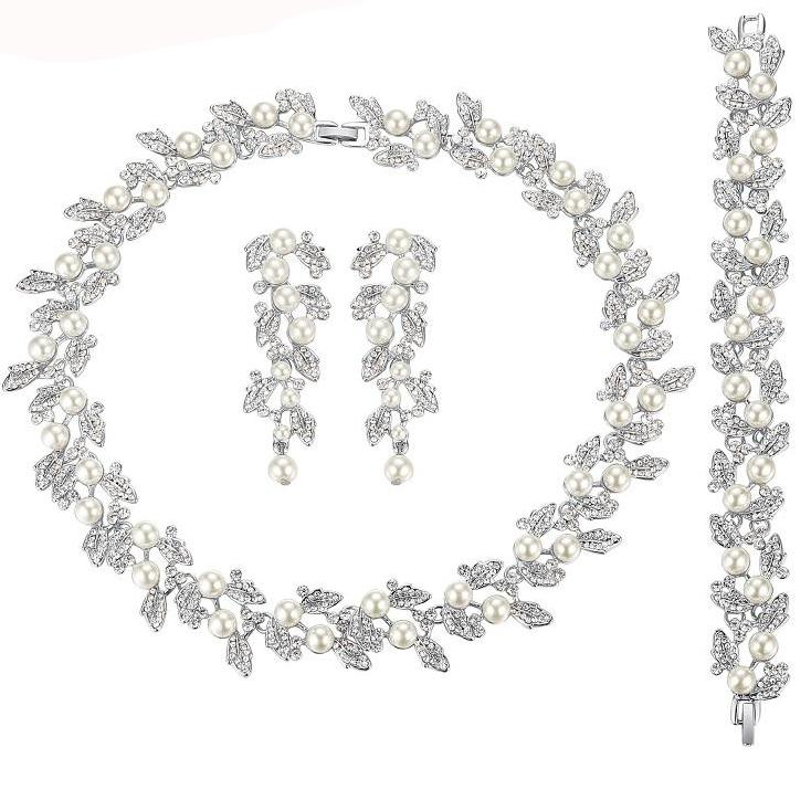 Pearl Bridal Jewelry Sets Silver / Gold-Color Necklace Set Wedding ...