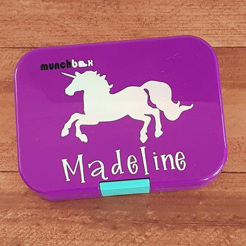Galloping Unicorn & Name Personalised Label - Lunchbox Sticker {Sparkle Font}
