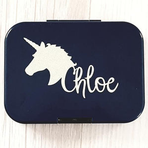 Unicorn Head & Name Personalised Lunchbox / Laptop Decal - Custom {Chloe Font}