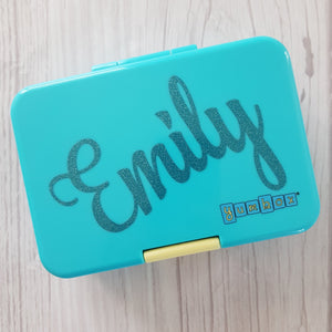 "Yumbox Mini or Munchi Single Name Personalised Decal - Midi 4"" / 10cm Customised Label"