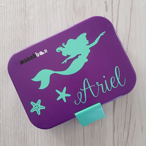 Ariel Mermaid Starfish & Name Lunchbox Decal Sticker