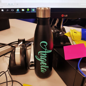"Drink Bottle Decal - 5"" / 12cm Single Name Personalised Decal - Customised Label School"
