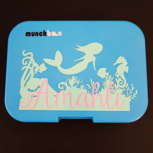 Under The Sea Mermaid Personalised Name Label - Large Lunchbox Decal Sticker