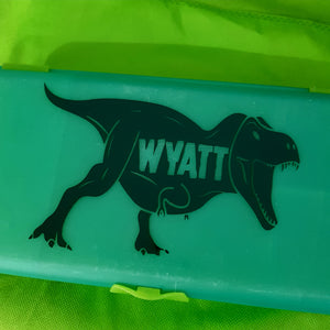 Roaring T-Rex & Cutout Name Dinosaur Jurassic World Lunchbox Decal Sticker