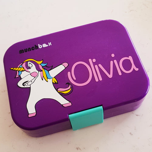 Layered Dabbing Unicorn & Name Lunchbox Decal Sticker