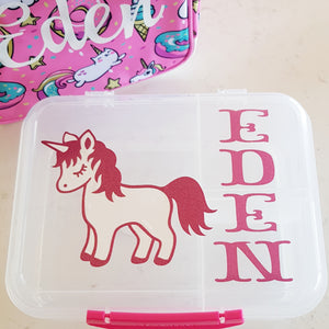 Storybook Layered Unicorn & Name Lunchbox Decal Sticker