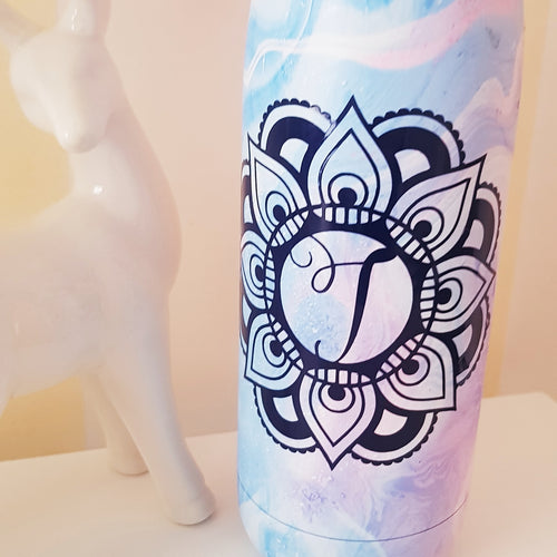 Mandala Ballerina Script Monogram Personalised Drink Bottle Decal - Customised Label Sticker