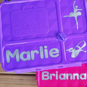 Go Green Lunchbox Label Set - Name & 2 Icons - Personalised Label - Mix & Match