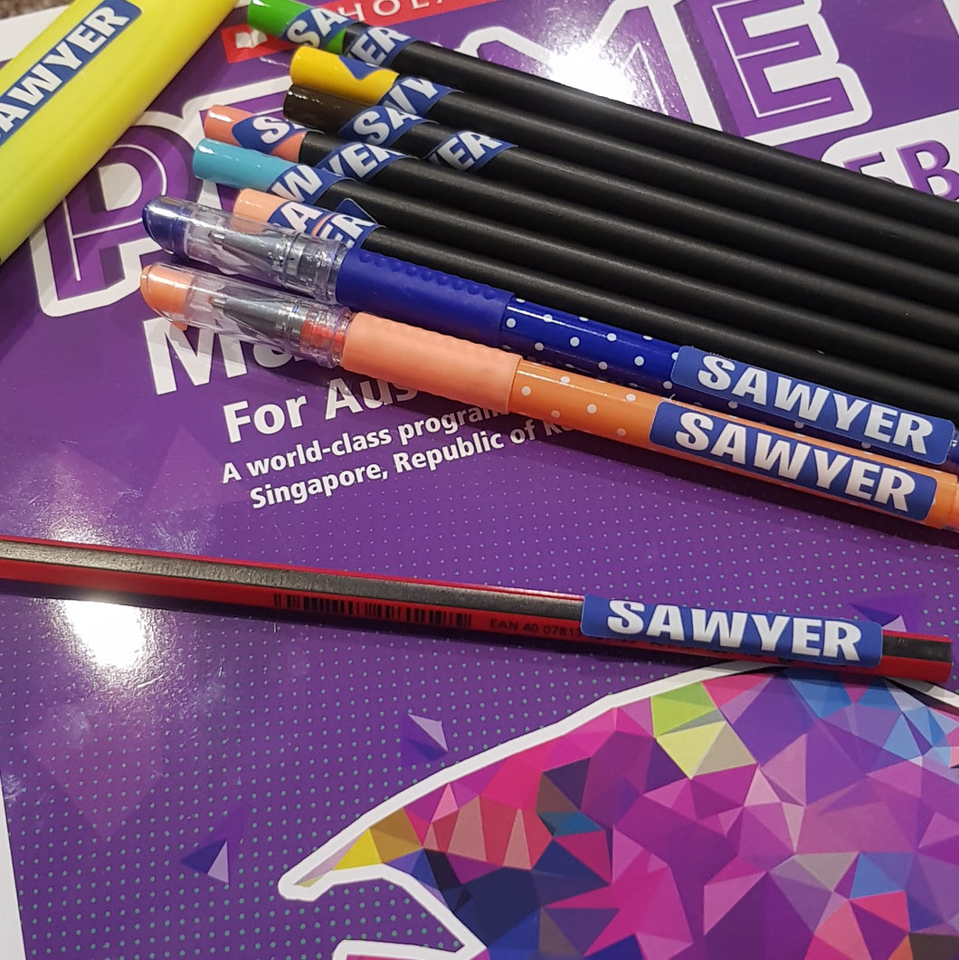 Mini Personalised Pencil Stickers - Back to School Labels x 60