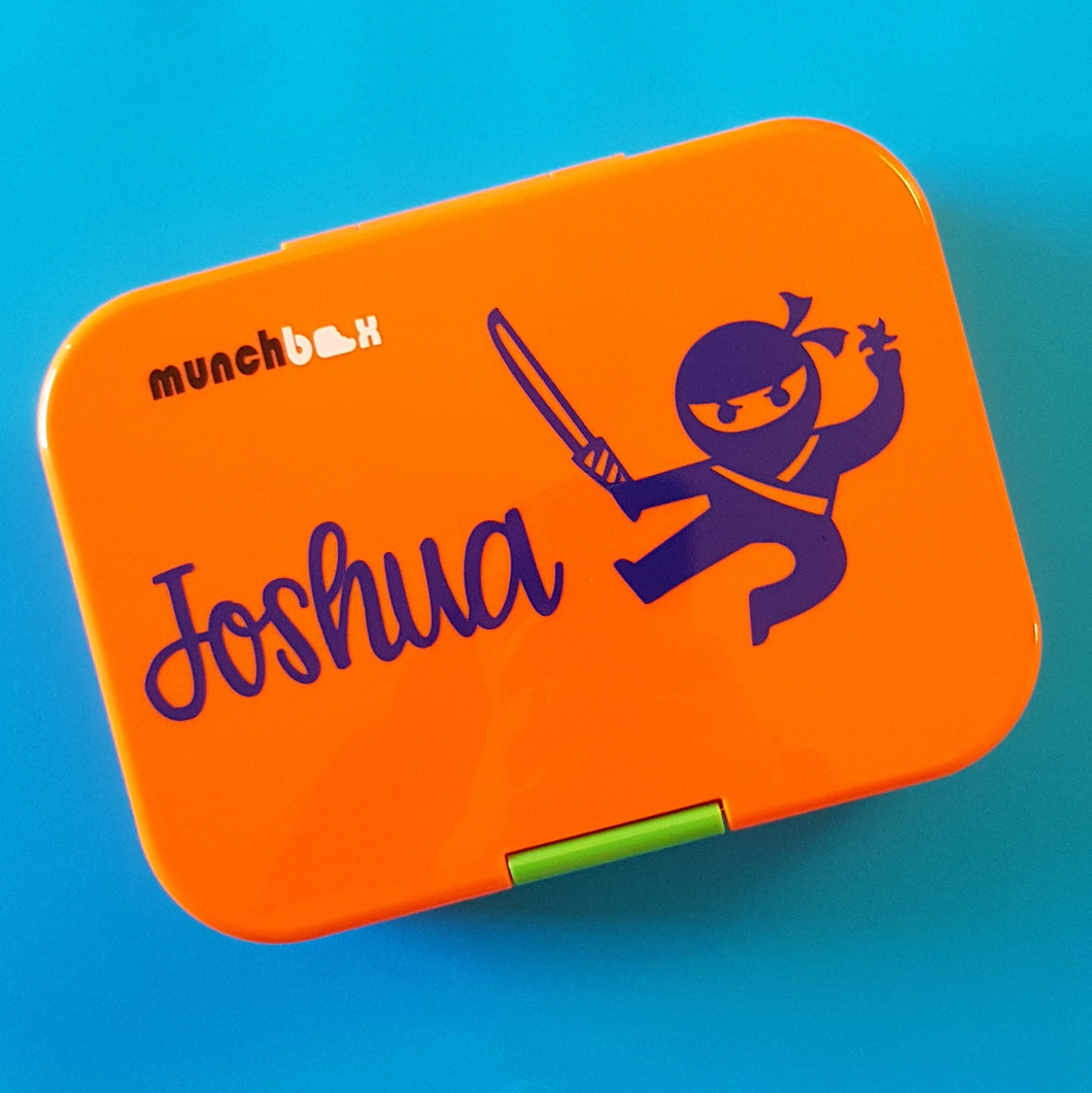 Ninja & Name Personalised Lunchbox Laptop Decal Sticker {CG Font}